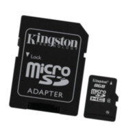 Карта памяти microSDHC 8Gb Kingston (Class 4) + адаптер SD
